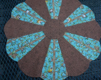 Table Topper Aqua & Brown with Birds Reverses to Winter Poinsettias