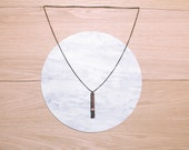 Sale -  - BAR - geometric, laser cut & string wrapped walnut necklace - 4 color combinations available