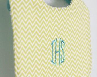 Monogrammed Baby Bib - Lemon-lime chevron