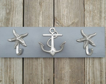 Anchor towel rack beach towel coastal living nautical home decor anchor wall art bathroom renovation outdoor shower Beach House Dreams OBX