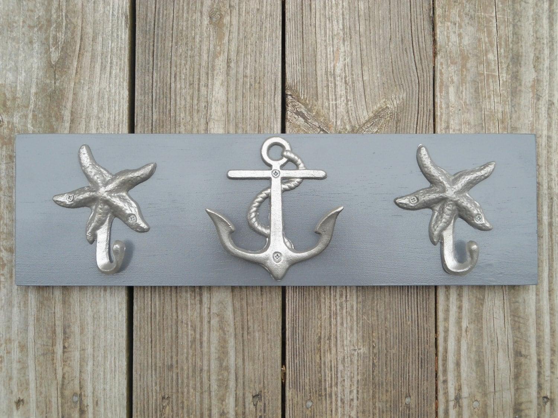 Coastal Towel Racks For Bathroom: Anchor Towel Rack Beach Towel Coastal Living Nautical Home