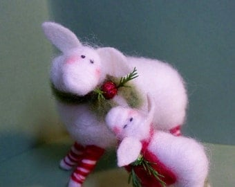 Candycane Sheep and Lamb Felted Wool Ornaments - NEW for 2013