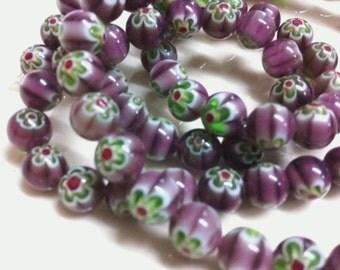 45pcs Orchid Purple Millefeori Glass 8mm Purple and Green