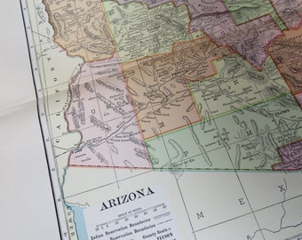 1901 State Map Arizona - Vintage Antique Map Great for Framing 100 Years Old