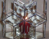 Stained Glass Leaded Glass Candle Holder Beveled 4  Star Design