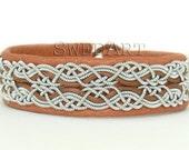 SwedArt B17 Snowflake Sami Lapland Reindeer Leather Bracelet Pewter and Silver Braids Antler Button Tan 1/2 Inch Wide MEDIUM