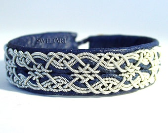 SwedArt B17 Snowflake Sami Lapland Reindeer Leather Bracelet Pewter and Silver Braids Antler Button  Navy Blue X-SMALL