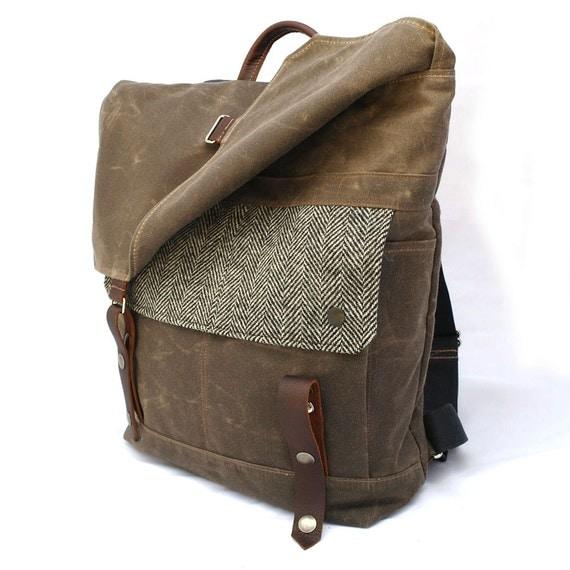 Waxed Canvas Backpack / Black & White Herringbone Recycled Wool