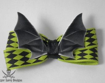 Pastel Goth Bat Wing Hair Bow