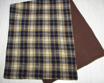 Burp Cloth Gift Set of 2 Flannel Plaid Larger Size
