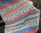 Baby Quilt , Beach Themed Baby Quilt ,  Unisex Baby Bedding , Baby Boy Quilt