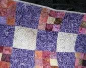 Batik Lap Quilt , Purple Throw Quilt , Nine Patch Throw Quilt