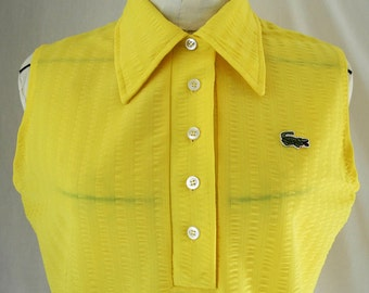 Vintage sleeveless blouse Haymaker Lacoste style bright canary yellow seersucker size large 1970s