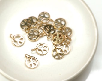 PEACE sign charm Natural Bronze shiny finish 9mm with jump ring - 2 pcs.