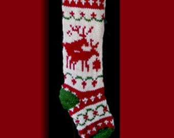 Hand knit Christmas stocking,  Personalized, made of pure wool yarn,  fully lined  --Snowflake, wreath and double reindeer