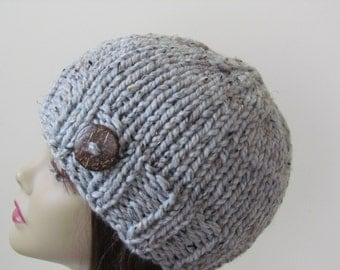 Chunky Knit Hat Winter Hat Chunky Knit Beanie Womens Hat Teens Hat - Grey Marble with  Button Accent  - Ready to Ship - Gift for Her