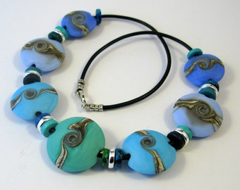 Turquoise Swirl Lentil Glass Bead Necklace SRA