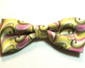 Pastel Swirl Lime Pink New Bow Tie Men New Handcrafted Adjustable Pretied Gustys Bowtie