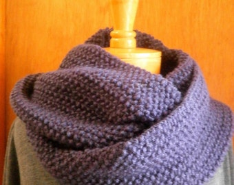 Purple Knit Infinity Circle Scarf  Seed Stitch Warm, winter, cozy MTO