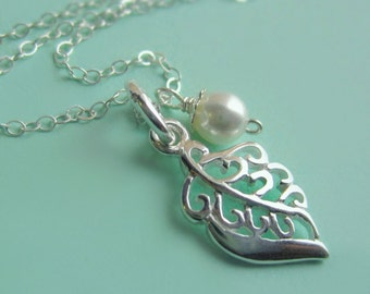 Sterling Silver Filigree Leaf and Swarovski Pearl Necklace