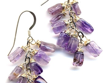 Grape Earrings in Amethyst and Sterling. NEW Line. Sterling Silver Ear Wire. Lavender  Earrings. Lilac Earrings Handmade Jewelry by AnnaAr72
