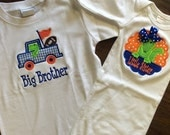 Florida Gator Big Brother Sister Applique set orange and blue