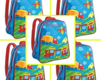 Stephen Joseph Monogrammed Transportation Go-Go- Backpack