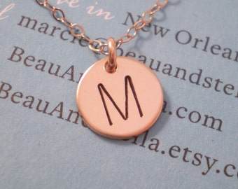 Tiny Personalized Initial Necklace - Tiny Initial Disc on Delicate Chain