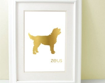 Gold Foil Dog Silhouette Personalized 8 x 10 Many Breeds To Choose From