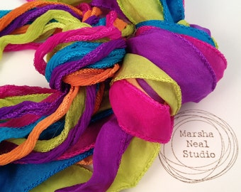 Hand Dyed Silk Ribbon - Silky Ribbon - Fairy Ribbon - Jewelry Supplies - Wrap Bracelet - Craft Supplies - Neon Carnival Color Palette