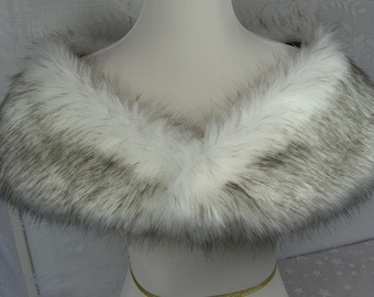 Faux Fur Shrug, Medium White/Black Husky Faux Fur Shawl, Fur Stole, Wedding Shoulder Wrap