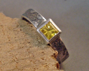 Square Citrine Cubic Zirconia Ring Locally Cut with Textured and Oxidized Sterling Silver Band size 6.5 Free Shipping