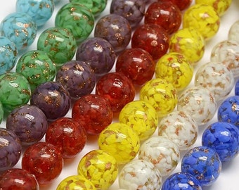 NEW - Round Glass Lampwork Bead Mix  - 14mm - Mixed Colors