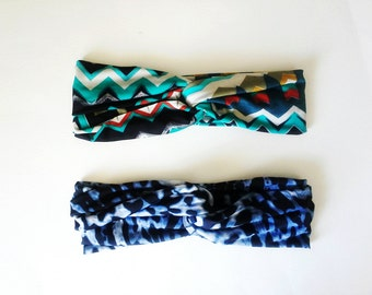 The Turban Headband- Blue Leopard and Teal Chevron Print