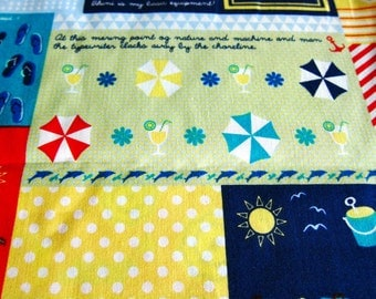 FREE SHIPPING Summer Fun in Blue Fabric - Kawaii Cotton Fabric (F006) - Fat Quarter