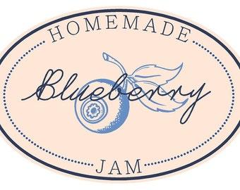 Jam Labels Blueberry (set of 50) vinyl decal sticker