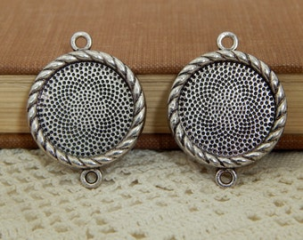 20 Antique Silver Round Bezel Link Connector Trays 20mm / Blank Pendant Trays