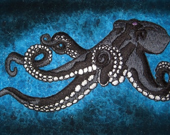 Huge Giant Octopus Jacket Back Iron on Patch Black and White ready to ship