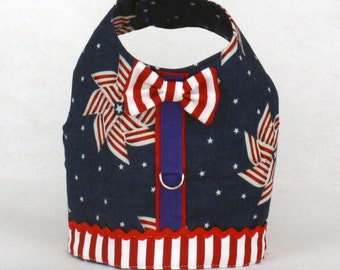 Dog Harness, Dog Vest, Pet Harness, Custom Dog Harness, Dog Fashion, Patriotic Harness for Dogs, Red White and Blue Harness, Pinwheels