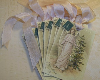 Christmas Tags Religious Christmas Tags Christmas Angel Tags Vintage Style - Set of 6 or 9