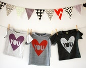 Love You - kids  hand screen printed valentines day shirt