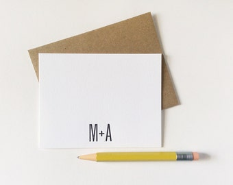 20 Custom Monogram Wedding Love Me + You Letterpress Note Cards Personalized Couple Initials Minimalist Black and White