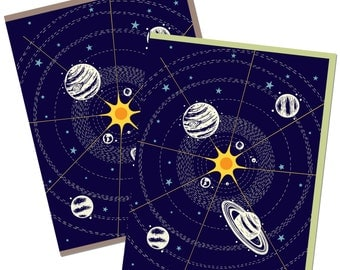 Space Card, Solar System Card, Blank Greeting Cards, Birthday space card, Planets card, thank you space card, recycled paper Single A2 size