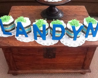 Personalized name Diaper cake Baby Shower centerpiece other colors and sizes too