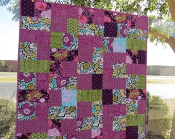 SALE  Baby Girl Quilt with gorgeous Plums, green and aqua fabrics