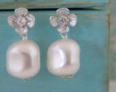 Silver Flower Rhinestone Swarovski Pearl Earrings