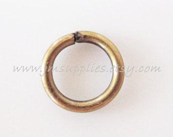 8mm, 18 Gauge Antiqued Gold Round Jumpring