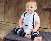 Little man mustache party. Felt fuzzy mustach, suspenders and 1. birthday or holiday shirt. Christmas baby