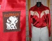 70s red satin disco western shirt by Karman mens size xlarge