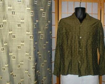 50s green abstract print rayon shirt mens size small